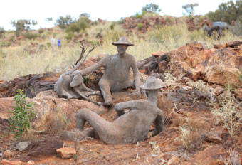 Sculptures of miners in the Living Desert reserve