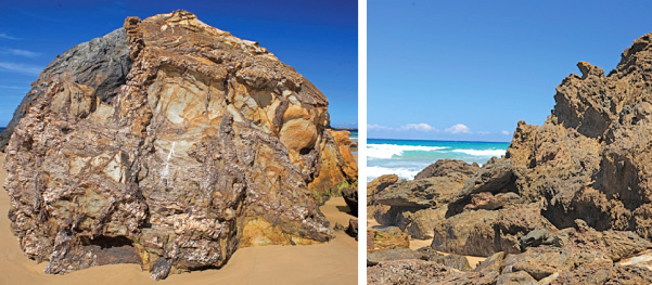 The Narooma Accretionary Complex; Right: Contorted metamorphic rocks