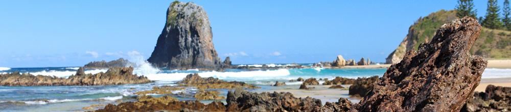 Glasshouse Rock at southern end of Narooma Beach