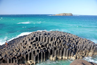 Looking out to sea: columnar jointing in basalt at Fingal Head. Cook Island in background