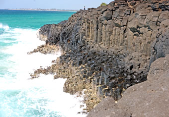 Looking back at the headland: columnar jointing in basalt at Fingal Head