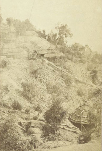 Gold mines with whim and shaft houses on Hawkins Hill, Hill End, New South Wales, circa 1872/3. From Holtermann archive of photographers Merlin and Bayliss. Source: National Library of Australia