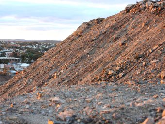 Broken Hill town ship is dominated by man-made mullock heaps