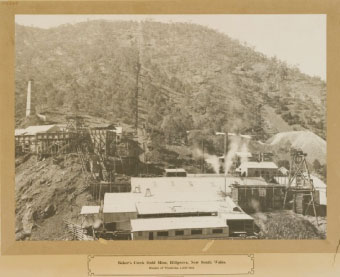 Bakers Creek Gold Mine in its heyday, note chimney on left